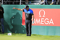 Scott Hend (AUS) gets a free drop on the 18th green on the 3rd playoff hole during Sunday's Final Round of the 2017 Omega European Masters held at Golf Club Crans-Sur-Sierre, Crans Montana, Switzerland. 10th September 2017.<br /> Picture: Eoin Clarke | Golffile<br /> <br /> <br /> All photos usage must carry mandatory copyright credit (&copy; Golffile | Eoin Clarke)