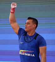 BARRANQUILLA - COLOMBIA, 22-07-2018:Competidor Hugo Fernando Montes de Colombia , ganó medalla de oro en levantamiento de pesas Modalidad Arranque .Juegos Centroamericanos y del Caribe Barranquilla 2018. / Competitor Hugo Fernando Montes de Colombia won gold medal in weightlifting Modality Start of the Central American and Caribbean Sports Games Barranquilla 2018. Photo: VizzorImage /  Contribuidor