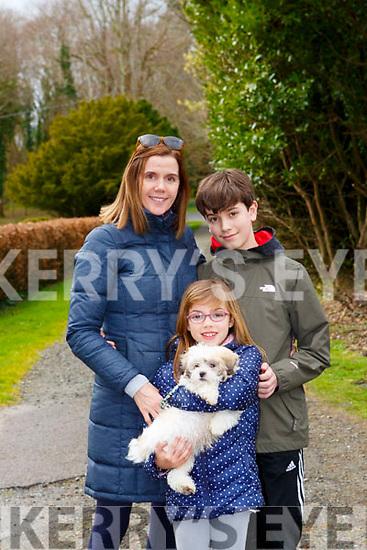 Caroline, Avery and Evan Avery taking their puppy Kobe for a walk in Killarney National Park on Friday