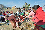 Women and children practice proper hand washing techniques during the gathering of an emotional support group in Makaising, a village in the Gorkha District of Nepal where Dan Church Aid, a member of the ACT Alliance, has provided a variety of support to local villagers in the wake of a devastating 2015 earthquake. ACT Alliance psycho-social workers have helped villagers recover from the quake both physically and emotionally.