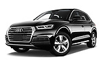 Stock pictures of low aggressive front three quarter view of a 2018 Audi Q5 Design 5 Door SUV
