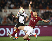 Football, Serie A: AS Roma - Parma, Olympic stadium, Rome, May 26, 2019. <br /> Roma's Edin Dzeko (r) in action with Parma's Massimo Gobbi (l) during the Italian Serie A football match between Roma and Parma at Olympic stadium in Rome, on May 26, 2019.<br /> UPDATE IMAGES PRESS/Isabella Bonotto