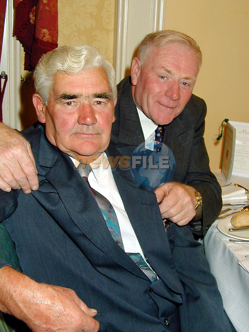 Johnny Meehan and Jim (red) Meehan at the civic reception in the Newgrange Hotel, Navan to commemerate the 50th anniversary of Meath's first Senior All Ireland Championship of 1949..Picture Paul Mohan Newsfile