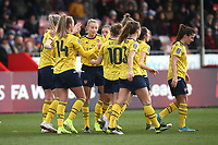 Jill Roord of Arsenal scores the second goal for her team and celebrates with her team mates during Brighton & Hove Albion Women vs Arsenal Women, Barclays FA Women's Super League Football at Broadfield Stadium on 12th January 2020