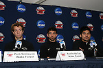 10 December 2009: From left: Zach Schilwaski, Austin da Luz, and Akira Fitzgerald. The Wake Forest University Demon Deacons held a press conference at WakeMed Soccer Stadium in Cary, North Carolina on the day before playing Virginia in an NCAA Division I Men's College Cup semifinal game.