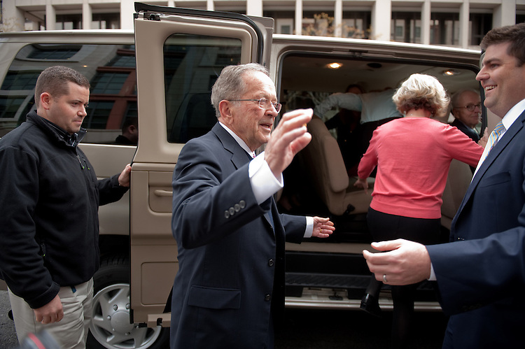 Former Sen. Ted Stevens, R-Alaska, leaves the federal courthouse  in Washinghton after the judge dismisses charges in his corruption case due to misconduct by the prosecution on Tuesday, April 7, 2009.