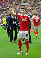 George Williams of Barnsley celebrates their win in the Johnstone's Paint Trophy Final match between Oxford United and Barnsley at Wembley Stadium, London, England on 3 April 2016. Photo by Alan  Stanford / PRiME Media Images.