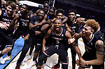 GREENVILLE, SC - MARCH 19: The University of South Carolina team celebrates after defeating Duke University during the 2017 NCAA Men's Basketball Tournament held at Bon Secours Wellness Arena on March 19, 2017 in Greenville, South Carolina. (Photo by Grant Halverson/NCAA Photos via Getty Images)