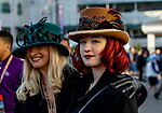 November 3, 2018 : Two women show off their race day hats on Breeders Cup World Championships Saturday at Churchill Downs on November 3, 2018 in Louisville, Kentucky. Bill Denver /Eclipse Sportswire/CSM
