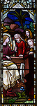 Stained glass window church of Saint Nicholas, Wilsford, Wiltshire, the three Marys, by H. Hughes, 1871
