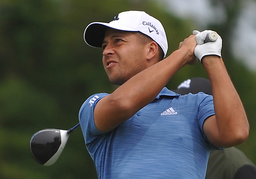 Xander Schauffele tees off from the 16th Hole during a practice round prior to the U.S. Open Championship at Shinnecock Hills Golf Club in Southampton on Monday, June 11, 2018.