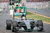 March 14, 2015: Lewis Hamilton (GBR) #44 from the Mercedes AMG Petronas F1 Team leaves the pits for practise three at the 2015 Australian Formula One Grand Prix at Albert Park, Melbourne, Australia. Photo Sydney Low