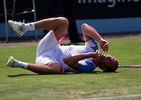 18-06-13, Netherlands, Rosmalen,  Autotron, Tennis, Topshelf Open 2013, , Xavier Malisse falls on the grass<br />