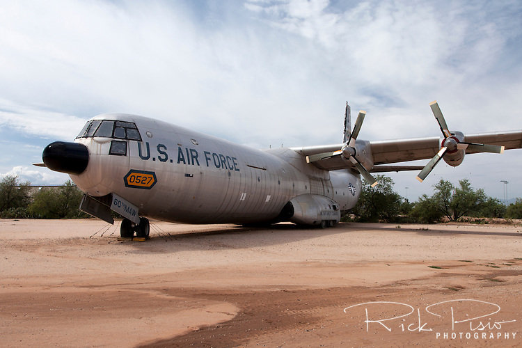Douglas C-133 Cargomaster on display at Pima Air Museum in Tucson, Arizona. There were 50 Cargomasters built between 1956 and 1961 and served in the USAF until 1971 when it was replaced by the C-5 Galaxy.