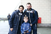 Bolton Wanderers' Jem Karacan and Mark Howard  with young Bolton Wanderers' fan before the match<br /> <br /> Photographer Leila Coker/CameraSport<br /> <br /> The EFL Sky Bet Championship - Bolton Wanderers v Fulham - Saturday 10th February 2018 - Macron Stadium - Bolton<br /> <br /> World Copyright &copy; 2018 CameraSport. All rights reserved. 43 Linden Ave. Countesthorpe. Leicester. England. LE8 5PG - Tel: +44 (0) 116 277 4147 - admin@camerasport.com - www.camerasport.com