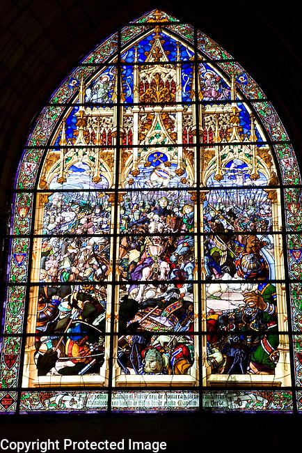 Battle of Las Navas de Tolosa Stained Glass Window, Sala Capitular, Real Colegiata de Santa Maria Church, Roncesvalles, Navarra, Spain