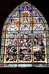 Battle of Las Navas de Tolosa Stained Glass Window, Sala Capitular, Real Colegiata de Santa Maria Church, Roncesvalles, Navarra, Spain