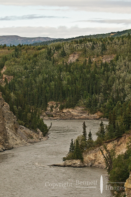 A view of the Nenana River and distant mountains as the train runs north.