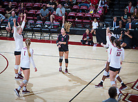 STANFORD, CA - November 4, 2018: Kathryn Plummer, Jenna Gray, Morgan Hentz, Audriana Fitzmorris, Tami Alade, Meghan McClure at Maples Pavilion. No. 2 Stanford Cardinal defeated the Utah Utes 3-0.