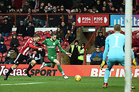 Preston's Tom Barkhuizen lines up a shot with Brentford's Henrik Dalsgaard <br /> <br /> Photographer Jonathan Hobley/CameraSport<br /> <br /> The EFL Sky Bet Championship - Brentford v Preston North End - Saturday 10th February 2018 - Griffin Park - Brentford<br /> <br /> World Copyright &copy; 2018 CameraSport. All rights reserved. 43 Linden Ave. Countesthorpe. Leicester. England. LE8 5PG - Tel: +44 (0) 116 277 4147 - admin@camerasport.com - www.camerasport.com