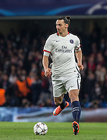 Zlatan Ibrahimovic of Paris Saint-Germain on the ball during the UEFA Champions League Round of 16 2nd leg match between Chelsea and PSG at Stamford Bridge, London, England on 9 March 2016. Photo by Andy Rowland.