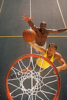 Dribble to the hoop during one on one game of basketball.