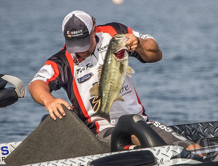 Courtesy photo<br />Travis Fox of Rogers adds another largemouth to his livewell during the Forrest Wood Cup. Fox finished second and won $60,000.