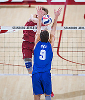 STANFORD, CA - March 2, 2019: Stephen Moye at Maples Pavilion. The Stanford Cardinal defeated BYU 25-20, 25-20, 22-25, 25-21.