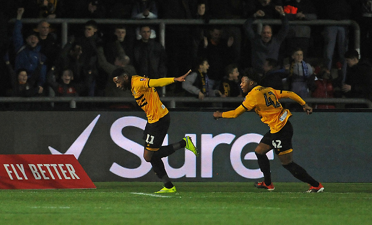 Newport County's Jamille Matt celebrates scoring his side's first goal <br /> <br /> Photographer Ian Cook/CameraSport<br /> <br /> The Emirates FA Cup Third Round - Newport County v Leicester City - Sunday 6th January 2019 - Rodney Parade - Newport<br />  <br /> World Copyright © 2019 CameraSport. All rights reserved. 43 Linden Ave. Countesthorpe. Leicester. England. LE8 5PG - Tel: +44 (0) 116 277 4147 - admin@camerasport.com - www.camerasport.com