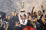 20 November 2011: Los Angeles' David Beckham (ENG) holds the Philip F. Anschutz Trophy overhead. The Los Angeles Galaxy defeated the Houston Dynamo 1-0 at the Home Depot Center in Carson, CA in MLS Cup 2011, Major League Soccer's championship game.