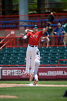 Erie SeaWolves first baseman Dominic Ficociello (25) jumps to try to receive a high throw during a game against the Reading Fightin Phils on May 18, 2017 at UPMC Park in Erie, Pennsylvania.  Reading defeated Erie 8-3.  (Mike Janes/Four Seam Images)