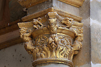 Carved gilded capital with anthropomorphic design from the Porte Doree, built 16th century under Francois I and the main entrance until the 17th century, at the end of the líAllee de Maintenon, an avenue of lime trees, Chateau de Fontainebleau, France. The gate leads to the King's private chapel. The Palace of Fontainebleau is one of the largest French royal palaces and was begun in the early 16th century for Francois I. It was listed as a UNESCO World Heritage Site in 1981. Picture by Manuel Cohen