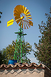 Yellow metal windmill, Llubi, Mallorca
