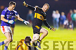 Austin Stacks Darragh Long effort saved by the Annascaul keeper Stephen Pierce in the Barrett Cup final on Friday night