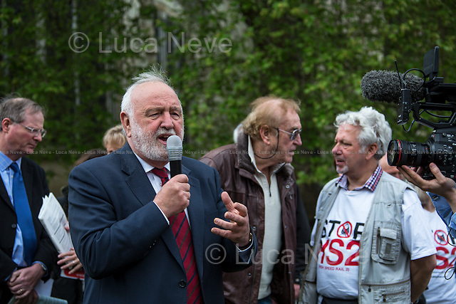 Frank Dobson MP (British Labour Party Member of Parliament for Holborn and St. Pancras since 1979; former Secretary of State for Health from 1997 to 1999).<br /> <br /> London, 28/04/2014. To mark the vote, taking place in the House of Commons (expected around 22:00), for the second reading of the HS2 Hybrid Bill, protesters gathered outside the Houses of Parliament to demonstrate against the 50 billion pounds high speed rail project which will connect London Euston to Birmingham City Centre.   <br />    <br /> For more information please click here: http://stophs2.org/