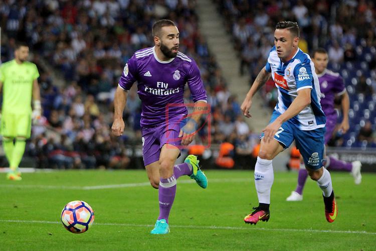 League Santander 2016/2017. Game: 4.<br /> RCD Espanyol vs R. Madrid: 0-2.<br /> Daniel Carvajal vs Alvaro Vazquez.