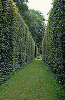 View down an avenue lined with tall hedges towards the Stone Nymph in the grounds of Bramham Park