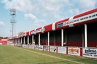 Covered terrace at Cheltenham Town FC Football Ground, Whaddon Road, Cheltenham, Gloucestershire, pictured on 23rd October 1993
