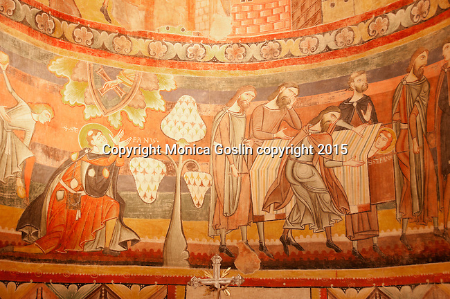 Inside the Benedictine Convent of Saint John which was established about 780, full of 9th century frescos and housing the most important cycle of frescos of Carolingian Art; a UNESCO World Heritage Site