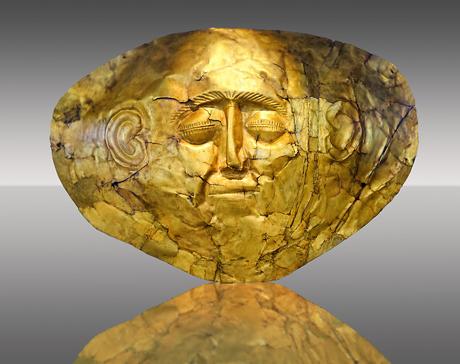Gold Death Mask  from Grave Circle A, Mycenae. 16th Century BC. The mask is made of a thin sheet of beaten gold . 16th century BC.  Athens Archaeological Museum.