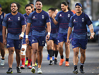 L_R Agnatius Paasi, David Fusitu'a and Warriors captain Roger Tuivasa-Sheck arrive to training.<br /> Vodafone Warriors training session. Mt Smart Stadium, Auckland, New Zealand. NRL Rugby League. Wednesday 9 May 2018 &copy; Copyright photo: Andrew Cornaga / www.photosport.nz