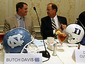 UNC coach Butch Davis and Duke coach David Cutcliffe converse after the 9th annual Bill Dooley Pigskin Preview on Thursday, July 21, 2011. Photo by Al Drago.