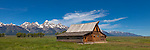 Grand Teton National Park, Wyoming: <br /> Summer morning light on the T.A. Moulton barn at Mormon Row - Antelope Flats