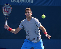 FLUSHING NY- AUGUST 28: Juan Martin del Potro on the practice court at the USTA Billie Jean King National Tennis Center on August 28, 2016 in Flushing Queens. Photo by MPI04 / MediaPunch