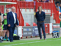 Manager Gareth Ainsworth of Wycombe Wanderers (right) and Manager Dermot Drummy of Crawley Town during the Sky Bet League 2 match between Crawley Town and Wycombe Wanderers at Broadfield Stadium, Crawley, England on 6 August 2016. Photo by Alan  Stanford / PRiME Media Images.