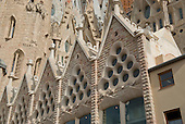 Part of the exterior facade of The Basilica de la Sagrada Família (Basilica and Expiatory Church of the Holy Family) in Barcelona, Spain on October 19, 2013.<br /> Credit: Ron Sachs / CNP