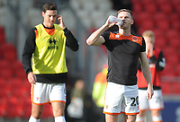 Blackpool's Oliver Turton during the pre-match warm-up <br /> <br /> Photographer Kevin Barnes/CameraSport<br /> <br /> Emirates FA Cup First Round - Exeter City v Blackpool - Saturday 10th November 2018 - St James Park - Exeter<br />  <br /> World Copyright &copy; 2018 CameraSport. All rights reserved. 43 Linden Ave. Countesthorpe. Leicester. England. LE8 5PG - Tel: +44 (0) 116 277 4147 - admin@camerasport.com - www.camerasport.com