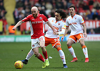 Charlton Athletic's Jonny Williams gets away from Blackpool's Nya Kirby<br /> <br /> Photographer David Shipman/CameraSport<br /> <br /> The EFL Sky Bet League One - Charlton Athletic v Blackpool - Saturday 16th February 2019 - The Valley - London<br /> <br /> World Copyright © 2019 CameraSport. All rights reserved. 43 Linden Ave. Countesthorpe. Leicester. England. LE8 5PG - Tel: +44 (0) 116 277 4147 - admin@camerasport.com - www.camerasport.com