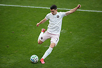 LOS ANGELES, CA - MARCH 01: Lewis Morgan #7 of Inter Miami CF takes a shot on goal during a game between Inter Miami CF and Los Angeles FC at Banc of California Stadium on March 01, 2020 in Los Angeles, California.