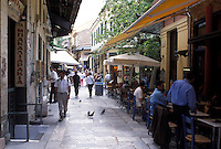 Athens, Plaka, Greece, Europe, Shops and outdoor cafés in the Plaka in downtown Athens.